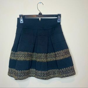 Ginger G High Waisted Black and Gold Skirt - Small